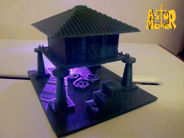 Mi primer proyecto de impresión 3D, el hórreo asturiano, disponible para descargar aquí.