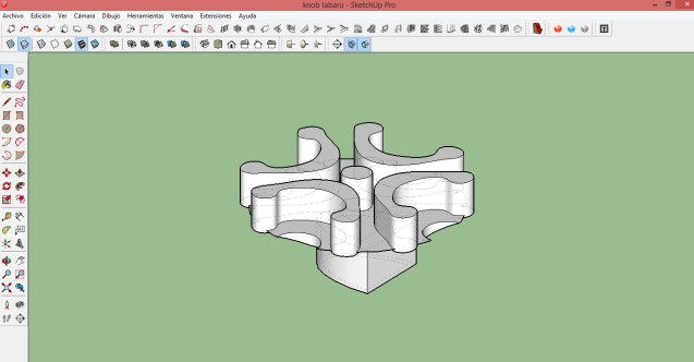 Proceso de modelado final del botón, con SketchUp.