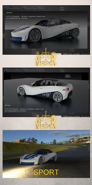 3D printed concept car, Sport model.