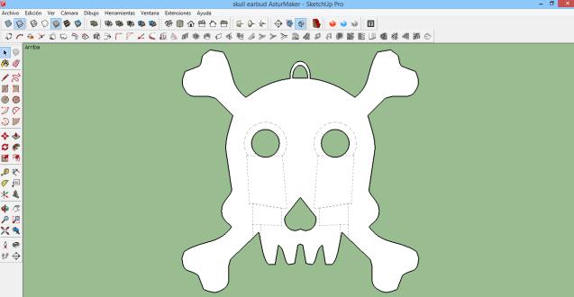 Modelo 3D final del porta-auriculares, diseñado con SketchUp, by AsturMaker.
